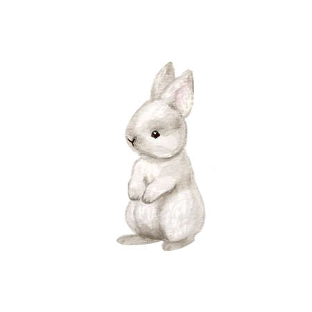 Watercolor Christmas bunny and snow. Isolated on white 矢量图像