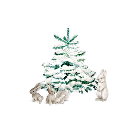 Watercolor Christmas Tree with bunny and snow. Minimalstic elegant Holiday Design Template.