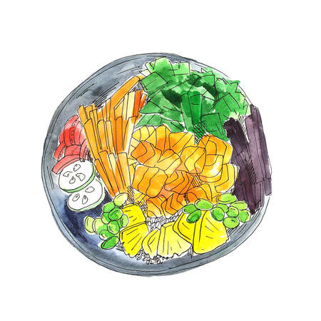 Colorful bright watercolor poke bowl with red salmon, caviar and other food pieces. Watercolor food illustration isolated on white. - Illustration