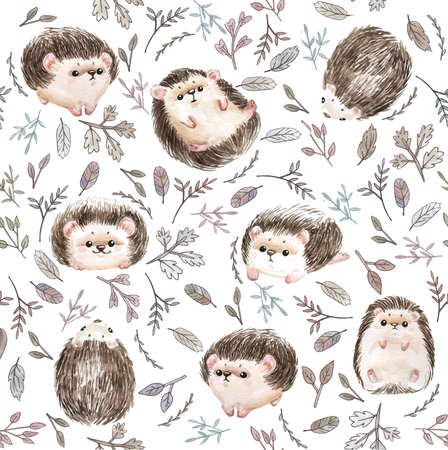 Cute baby hedgehog animal seamless pattern, nursery isolated illustration for children clothing. Watercolor Hand drawn boho image Perfect for phone cases design, nursery posters, postcards - Illustrat Stock fotó