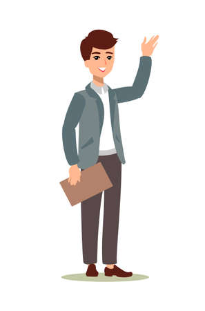 Animate character. Male personage constructor. Different man postures. Vector set personage.