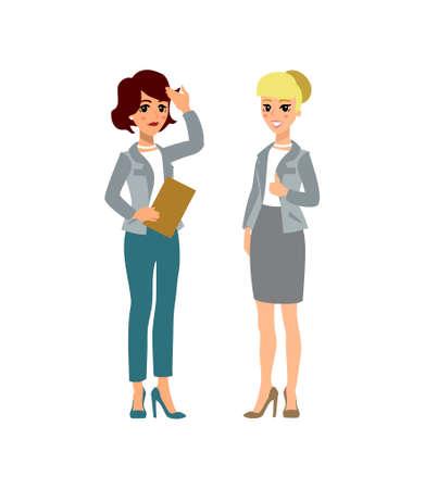 Personaje animado. Constructora de personajes femeninos. Diferentes posturas de mujer. Personaje de vector.