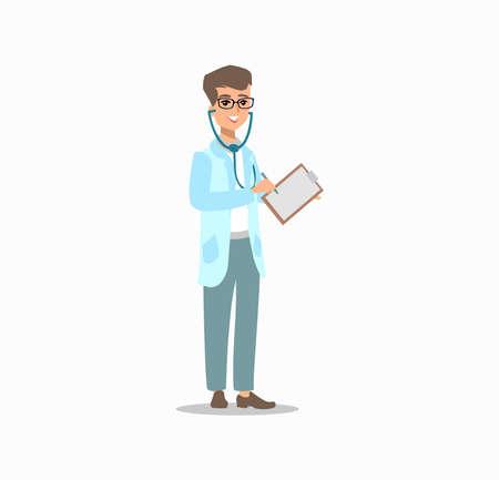 Funny character design. Cartoon illustration. Healthcare concept creator. male medic personage.