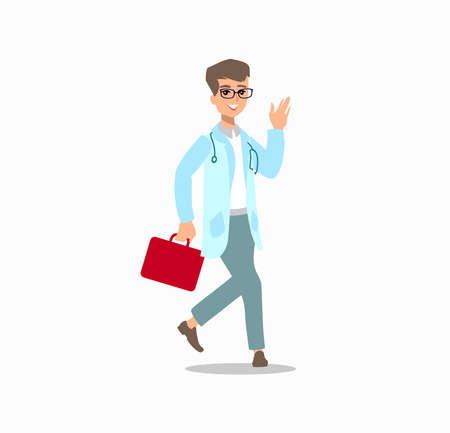 Funny character design. Cartoon illustration. Healthcare concept creator. male medic personage. Vetores