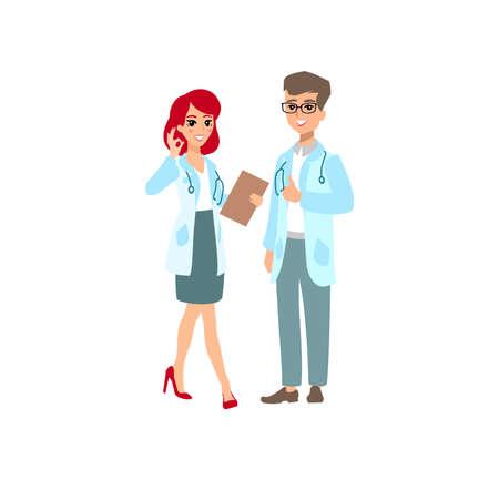 Funny character design. Cartoon illustration. Healthcare concept creator. Female medic personage.