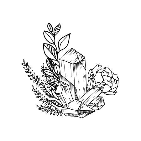 vector floral frame with leaves, flowers, feathers and gems. Sketch style. Borders. Ink illustration frame. Linear art. Illustration