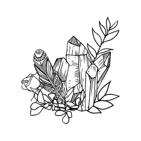 vector floral frame with leaves, flowers, feathers and gems. Sketch style. Borders. Ink illustration frame. Linear art. Standard-Bild - 125822919