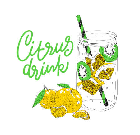 Hand drawn vector summer ice drink with cittrus. Lemon and mint. Detox water. Linear illustration. - Vector illustration