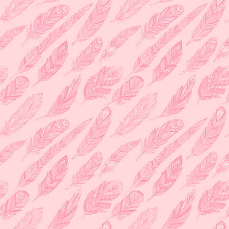 Seamless pattern with ethnic feathers. Tribal Feathers Vintage Pattern. Hand Drawn Doodles. Vectores