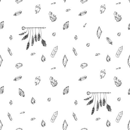 Seamless pattern with ethnic feathers. Tribal Feathers Vintage Pattern. Hand Drawn Doodles. Illustration