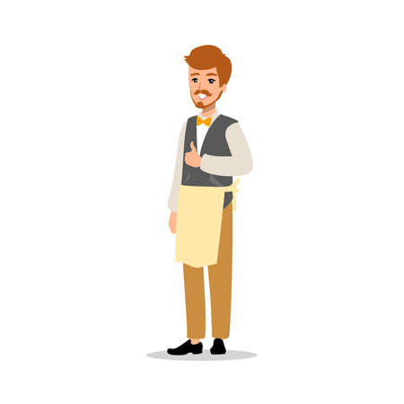 Set of vector flat style character barber guy in different static poses. Stock Illustratie