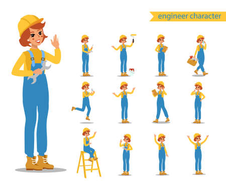 female worker character vector design. Animate personage. Fun cartoon person. Isolated on white background.