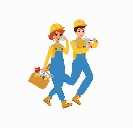 disegno vettoriale di carattere lavoratore. Personaggio animato. Persona divertente cartone animato. Isolato su sfondo bianco. Vettoriali