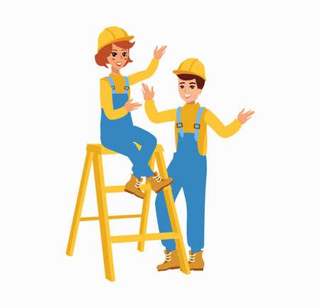 worker character vector design. Animate personage. Fun cartoon person. Isolated on white background.