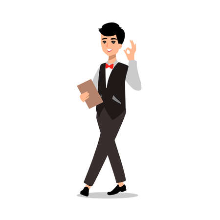 waiter wearing the uniform holding a dish of chicken cartoon character. Set of fun flat cartoon person.