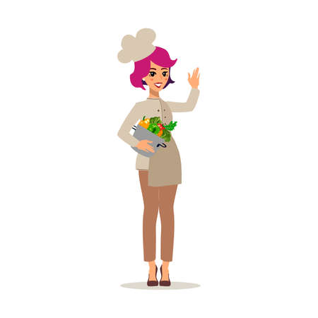 Cook female character vector design. Animate personage. Set of fun cartoon person.