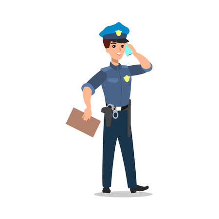 Policeman character set. Full length officer, different views, emotions, gestures, professional tools and attributes.