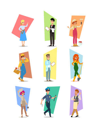 cartoon flat-style vector illustration. Set of vector flat design illustrations isolated on white background.