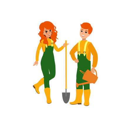 Funny character design. Cartoon illustration. Garden care concept creator. Female groundskeeper personage.