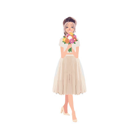 Beautiful woman, girls, friends standing, holding bunches of flowers, cartoon vector illustration isolated on white background. Stock Illustratie