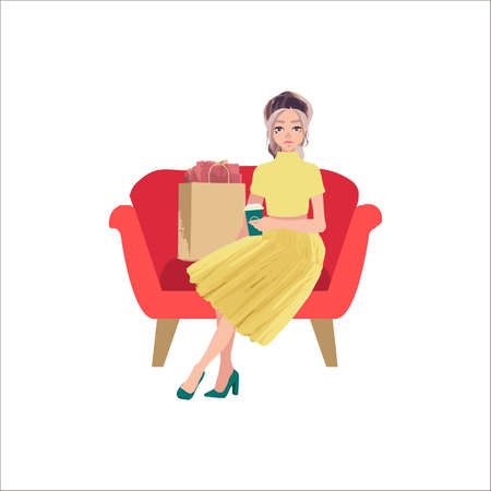 Beautiful woman go shopping with bags and feeling happiness on white background. Cute vector cartoon female character.