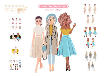 Set vector person. Girlfriends.Cartoon animated personas.Animate woman character Stock Illustratie