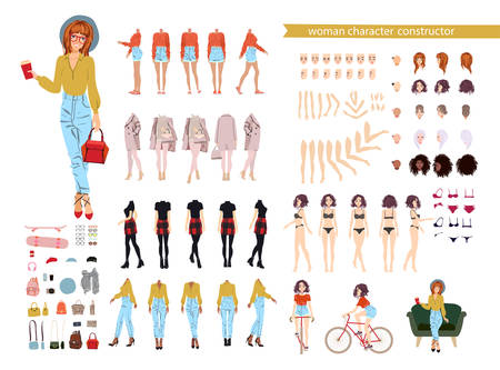 Different woman postures, hairstyle, face, legs, hands, clothes accessories collection Vector cartoon illustration