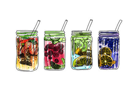 vector summer ice drink with citrus and berries. Lemon and mint. Detox water sketch. Linear illustration.
