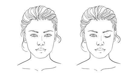 Diagramm Maskenbildner leer. Vorlage. Vektor-Illustration. Abbildung auf weißem Hintergrund Umriss des menschlichen weiblichen Gesichts für Make-up.