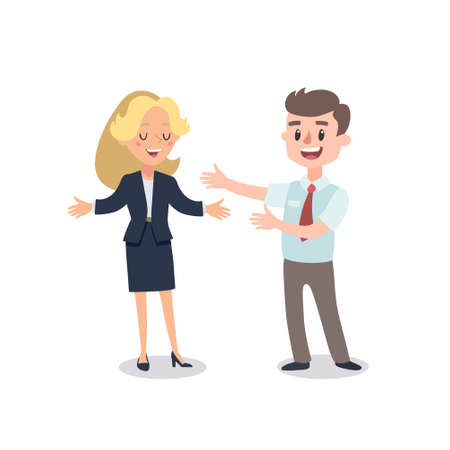 Man and woman present a project. Vector illustration with cartoon characters. Team building. Leadership. Management. Иллюстрация