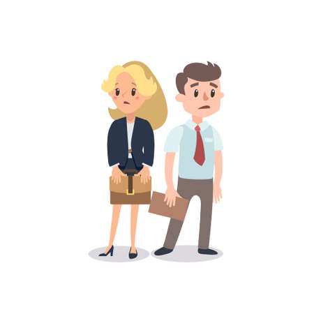 Man and woman present a project. Vector illustration with cartoon characters. Team building. Leadership. Management.