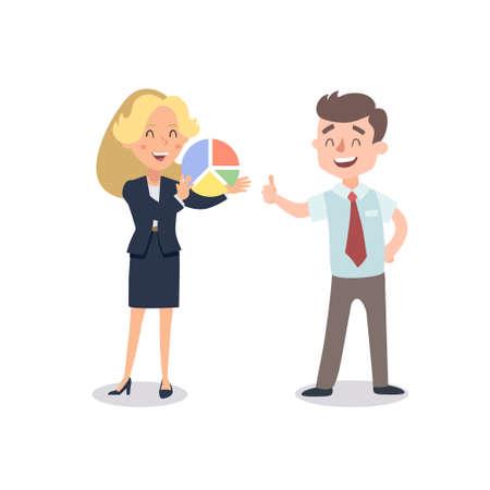 L'homme et la femme présentent un projet. Illustration vectorielle avec des personnages de dessins animés. Construction d'équipe. Leadership. La gestion.