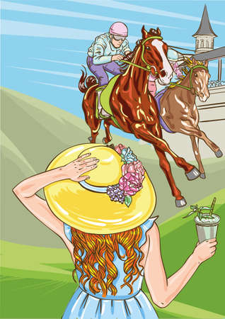 Horse racing competition. Vector illustration. Derby. Woman with cocktail