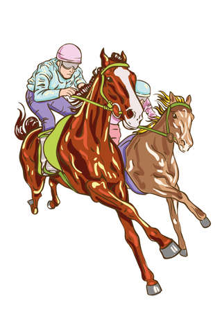 Horse racing competition. Vector illustration.