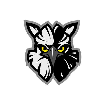 Mascot icon illustration of head of an American harpy eagle (Harpia harpyja), eagle head animal mascot - logotype concept - sporty vector Ilustrace
