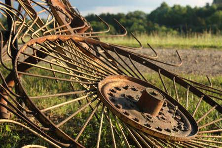 Hay rakes detail in rural setting