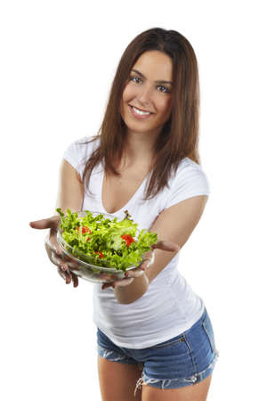 Healthy lovely woman with salad Stock Photo - 16754476