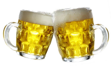 Pair of beer glasses making a toast Stock Photo - 16754403