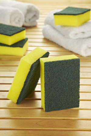 scouring: dish soap, sponges and towels Stock Photo