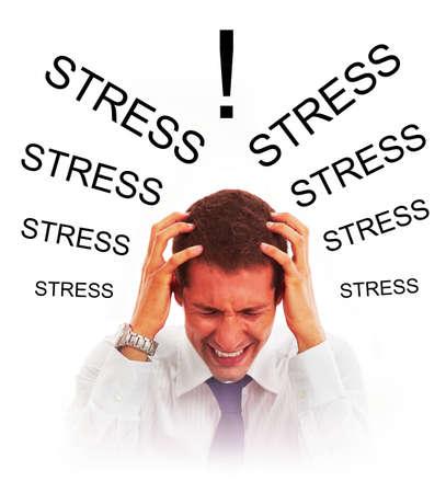 Stressed businessman with headache Stock Photo