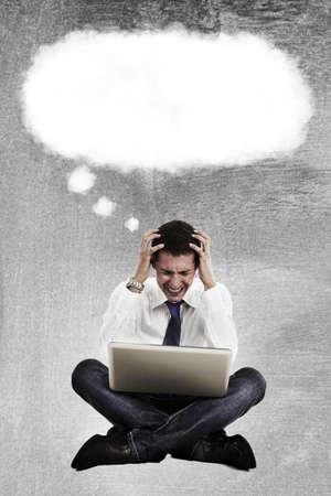 contemplative: Man pensive including thought bubble