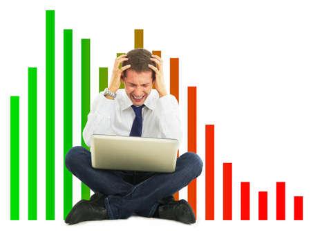 sales bank: Desperate businessman, financial crisis concept