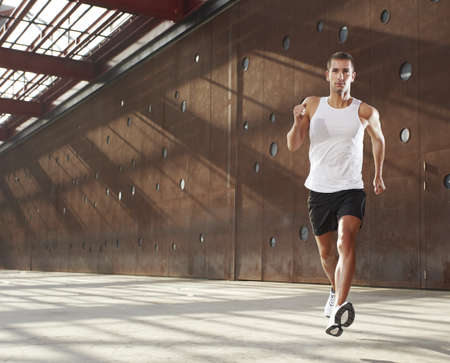 muscular man: Caucasian male athlete doing exercise outdoor