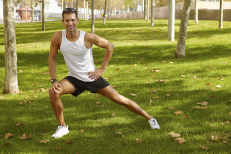 Young man sports exercises  photo