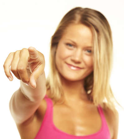 Young female pointing at you Stock Photo - 16903806
