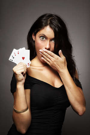 win money: sexy woman on gray background