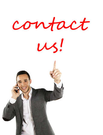 write us: Friendly businessman pointing Contact Us  Stock Photo