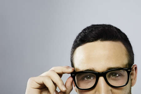 half man face with glasses isolated Stock Photo - 16949131