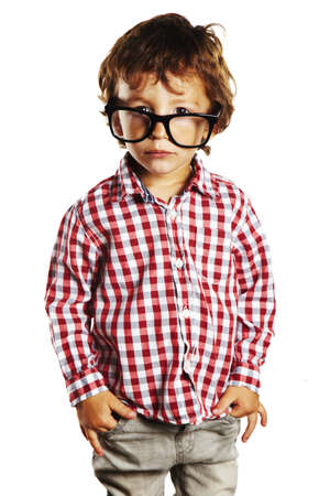 portrait of child with plaid shirt isolated on white photo