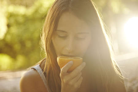 citrus family: portrait of a cute young woman Stock Photo